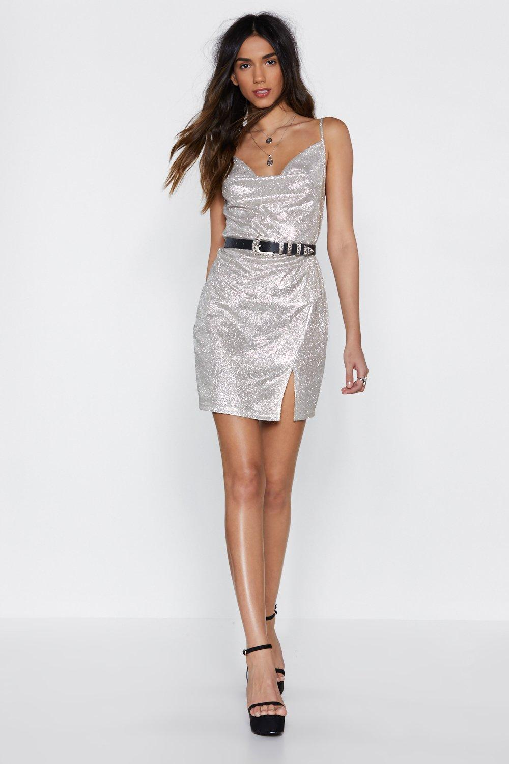 Cowl Do You Know Glitter Dress by Nasty Gal
