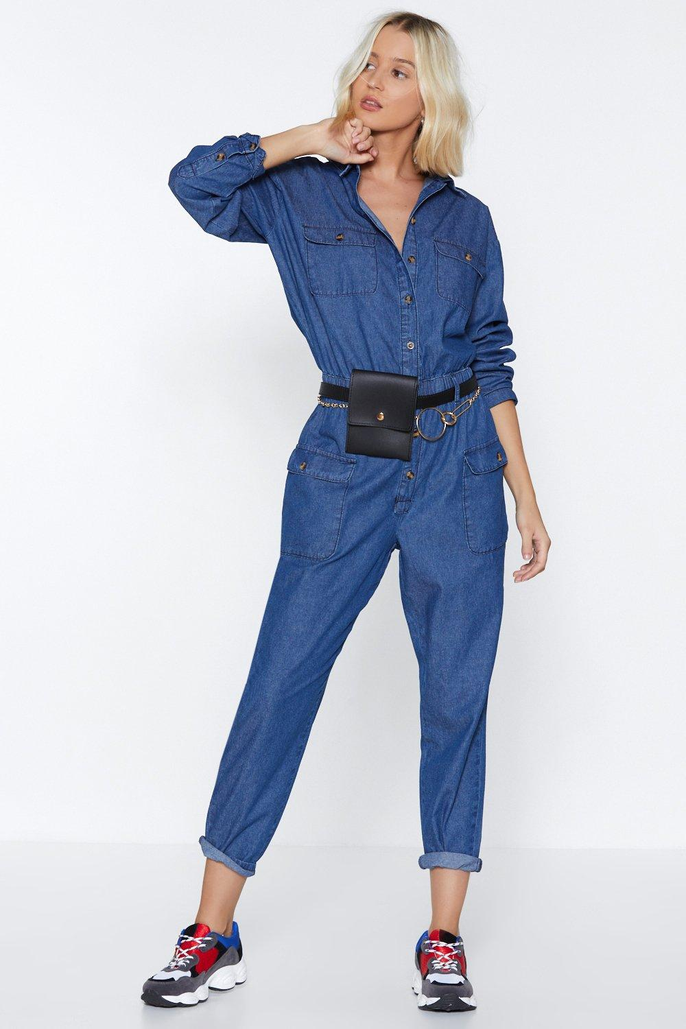 fab966fe466 Get Up and Jump Denim Jumpsuit
