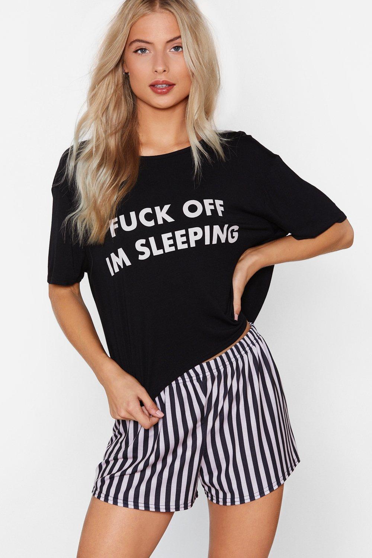 10e81e56637 Womens Black Fuck Off I m Sleeping Tee and Shorts Pajama Set