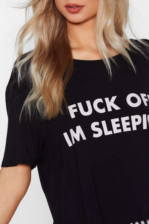 e2ce7d2face Womens Black Fuck Off I m Sleeping Tee and Shorts Pajama Set.