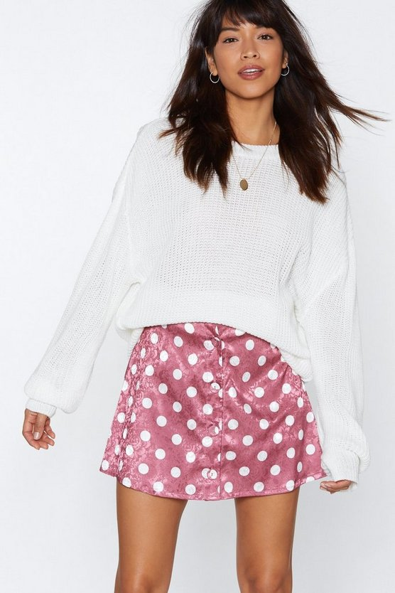 Spot Pushing My Buttons Polka Dot Skirt by Nasty Gal