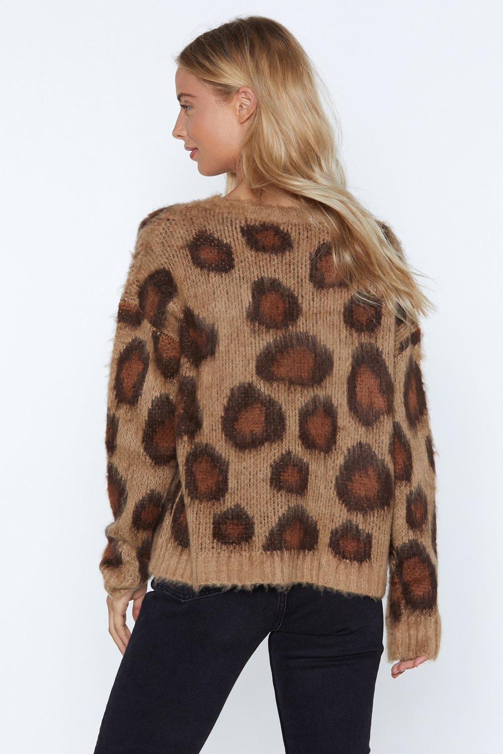 c135ccd6710 Womens Tan You Drive Me Wild Leopard Sweater