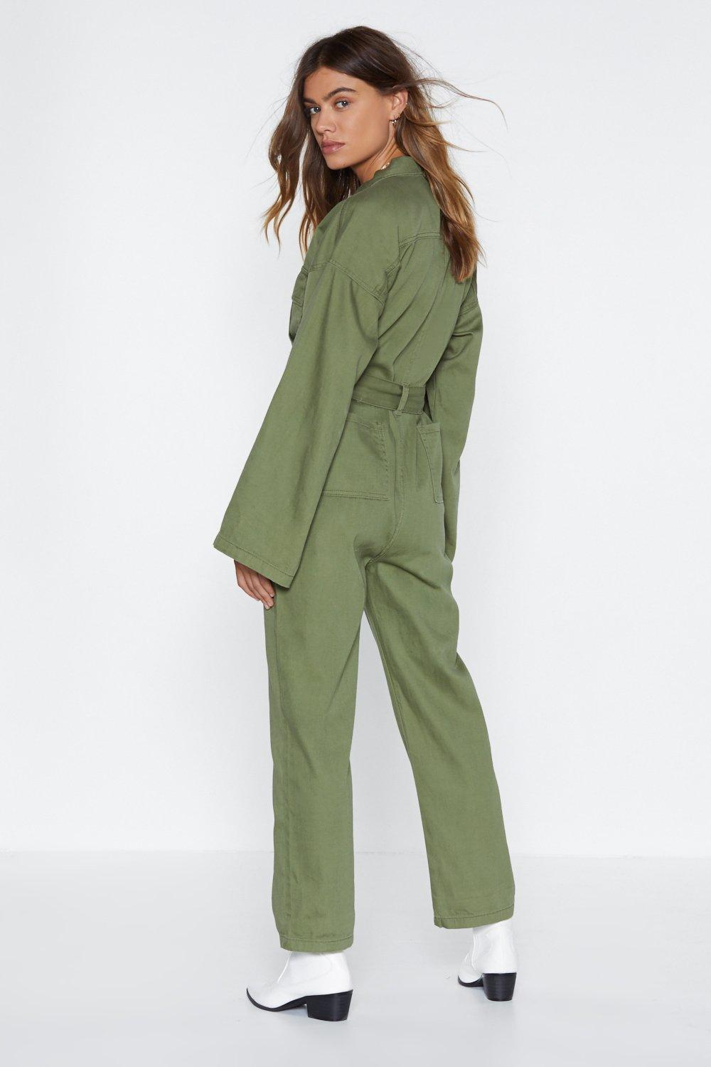 8cbe895ec41 Womens Khaki Girl Utility Fine Belted Boilersuit. Hover to zoom