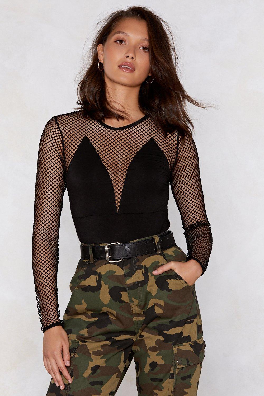 d965f44e9cd Womens Black Net Down to Business Fishnet Bodysuit