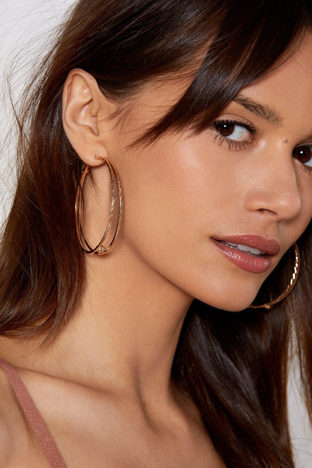 On The Ball Hoop Earrings Shop Clothes At Nasty Gal