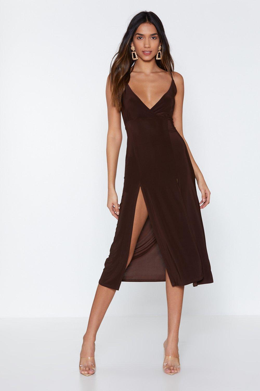 7cc0bbe53b Womens Chocolate Like I Give a Slit Midi Dress. Hover to zoom