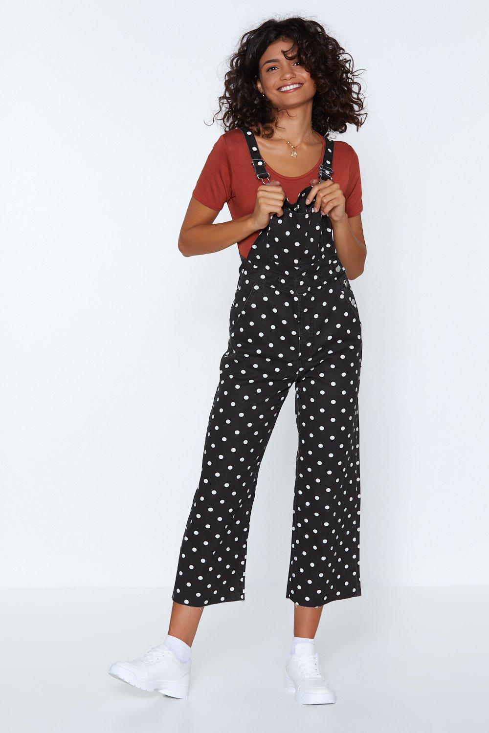10c1023bf66 Along the Dotted Line Polka Dot Overalls