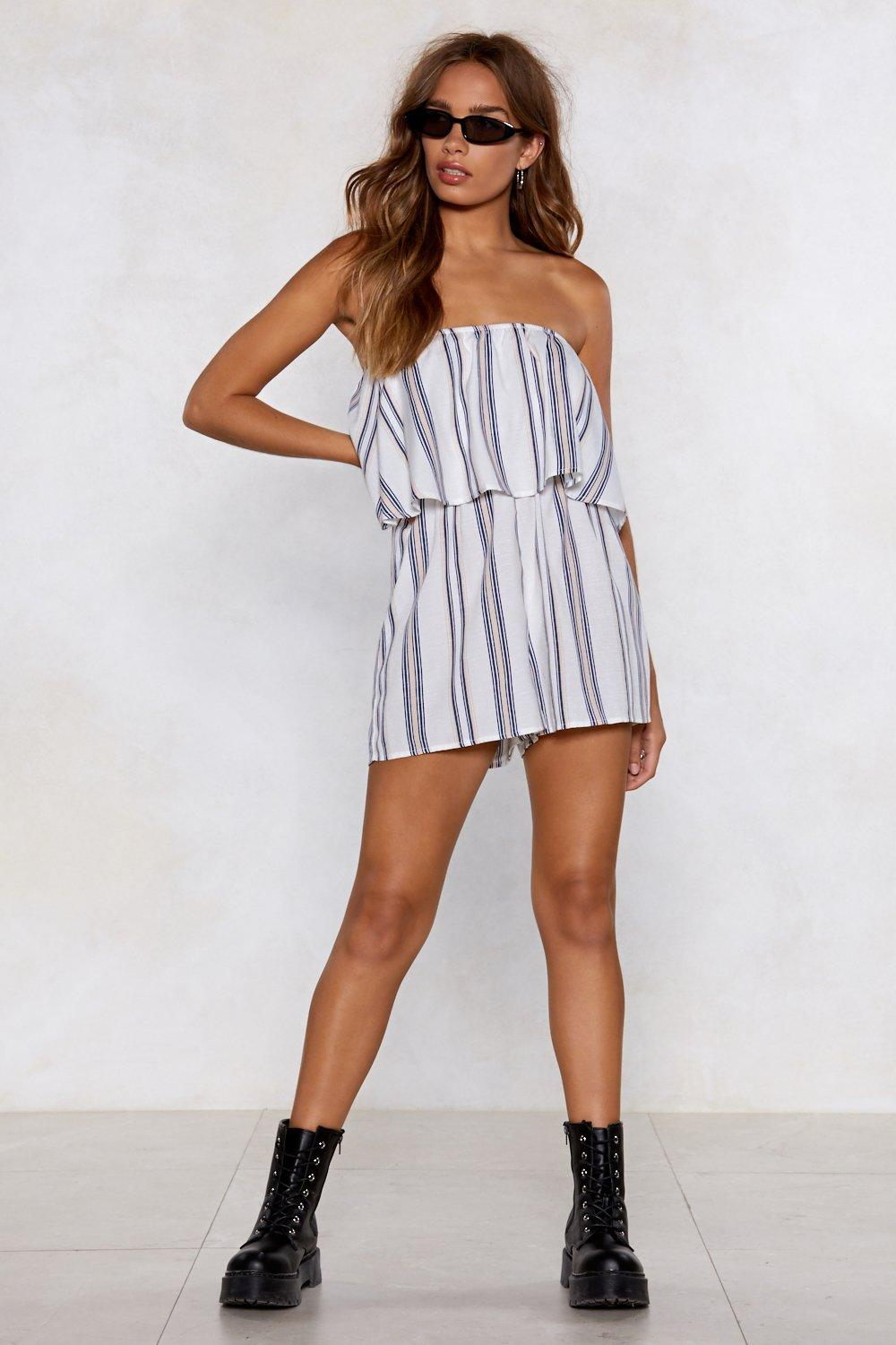 0227943a31cb Time for Plan Bandeau Striped Romper