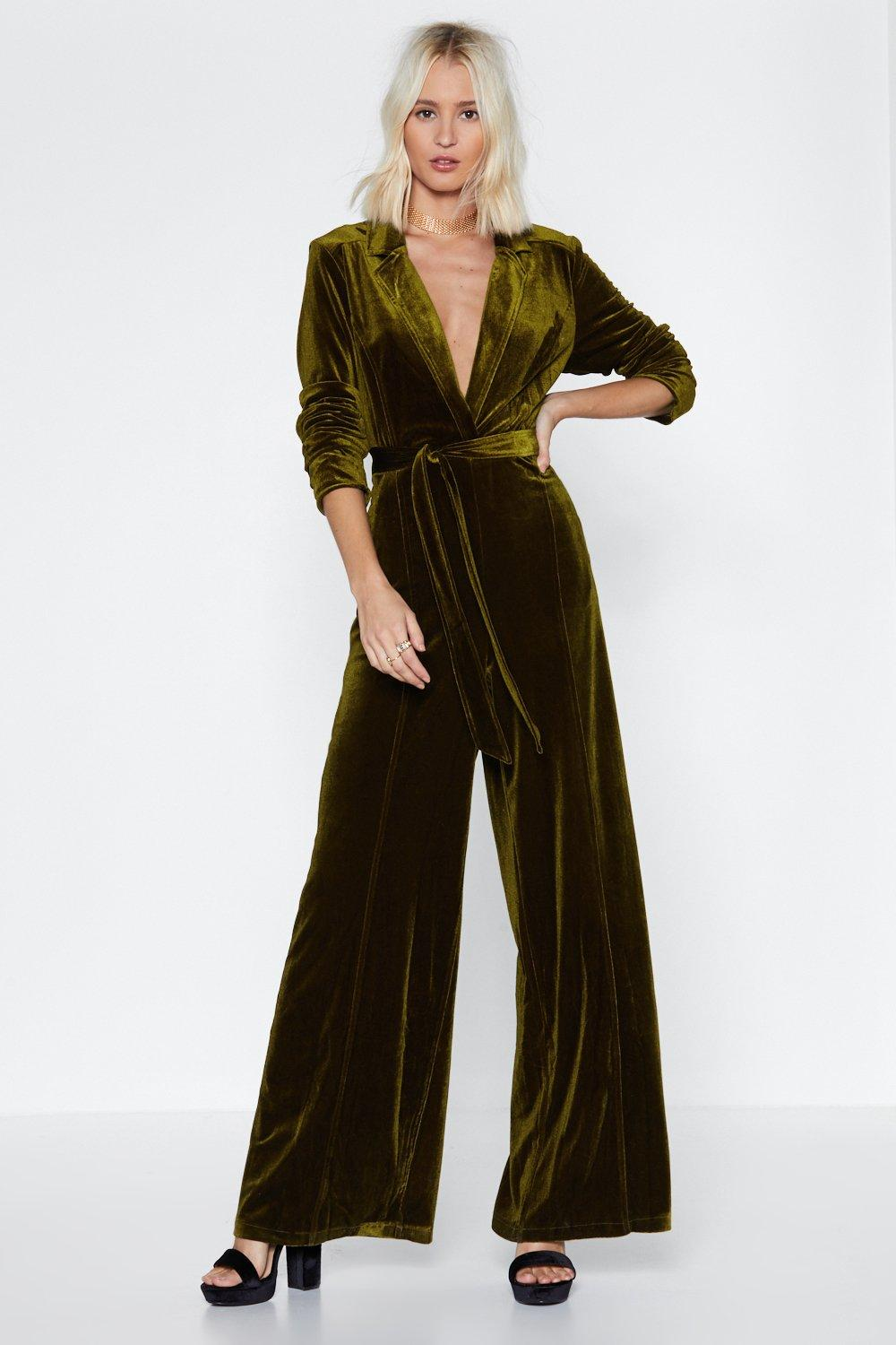 47ca0f30a59 Deep Me Posted Velvet Jumpsuit. Hover to zoom