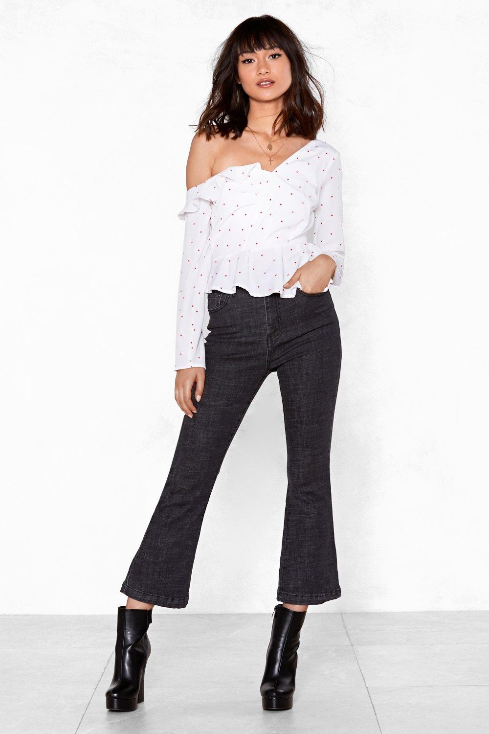 05157658f82ab Ruffle Out Back Spotty Blouse. Hover to zoom