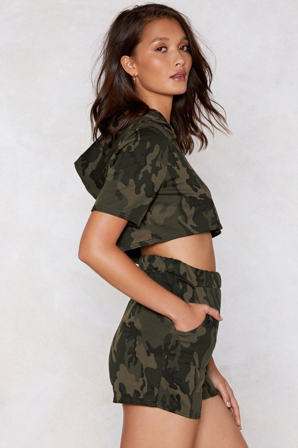 79ba94d2cb6f Womens Khaki Hiding From Responsibilities Camo Hoodie and Shorts Set