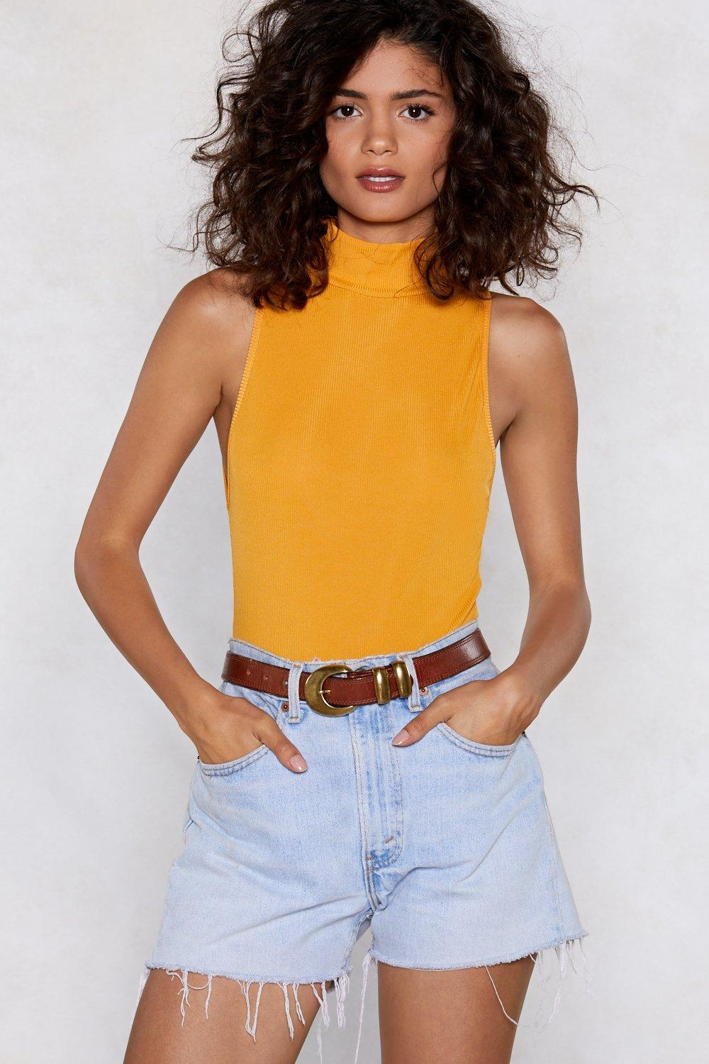 ce609b18 Womens Mustard Up to My Neck Ribbed Bodysuit. Hover to zoom