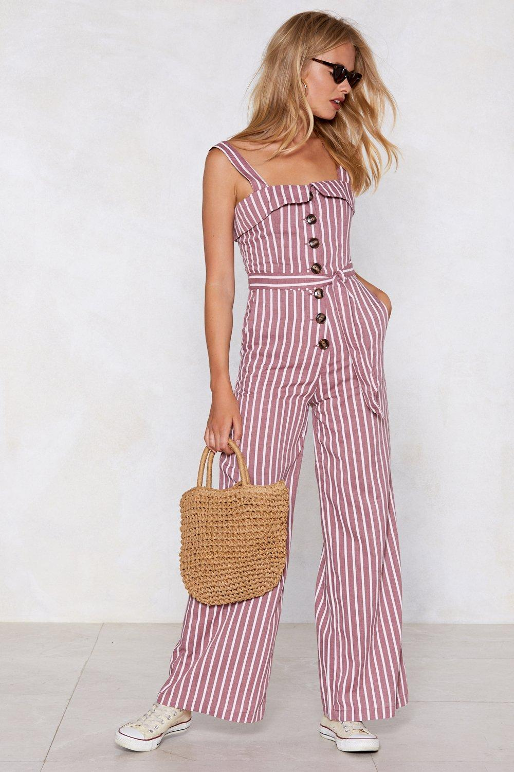 a23d456ceb6 Push My Buttons Striped Jumpsuit