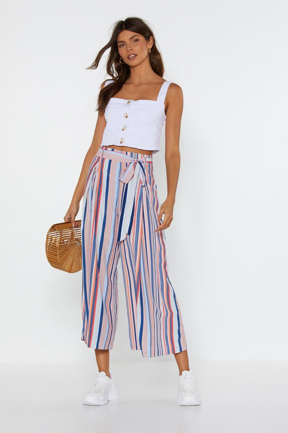 291a1a44ad1 Mind Your Manners Striped Culottes. Hover to zoom