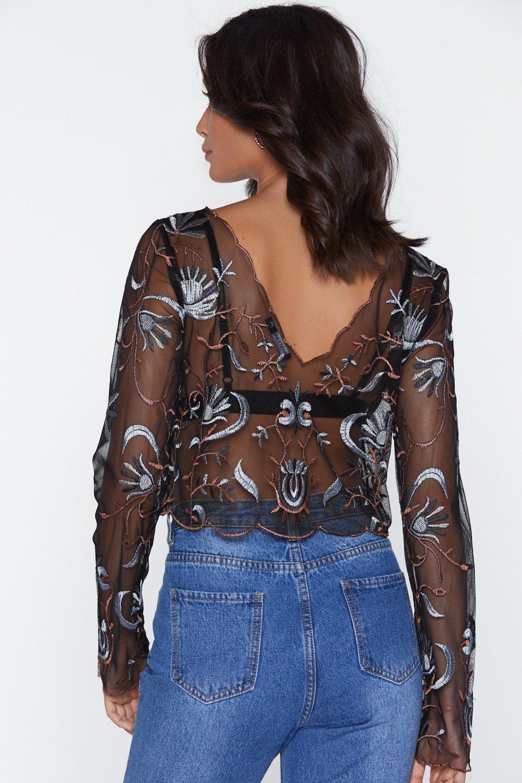 9f9730bbf5bfbb Sew Far Sew Good Embroidered Crop Top
