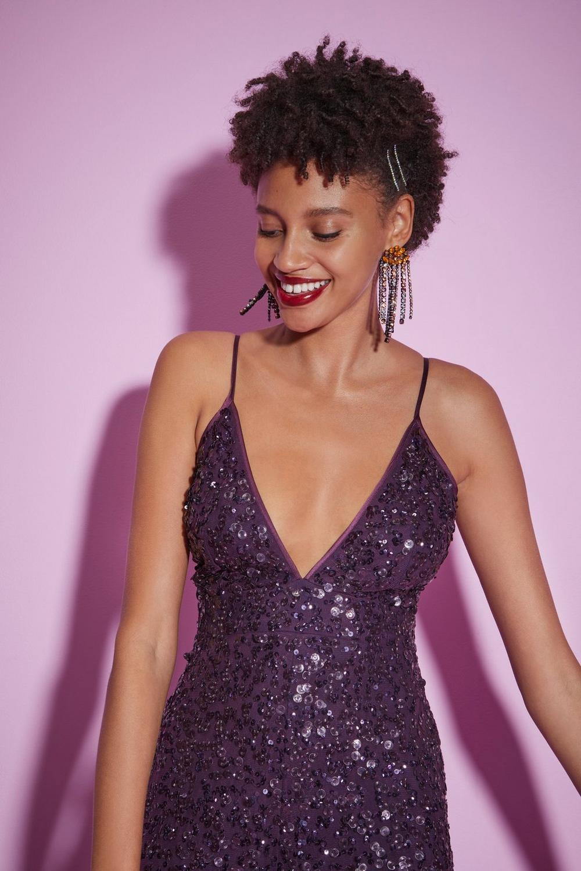 1ce18f9399ce74 Womens Purple Nasty Gal Studio You Should Be Dancing Sequin Jumpsuit