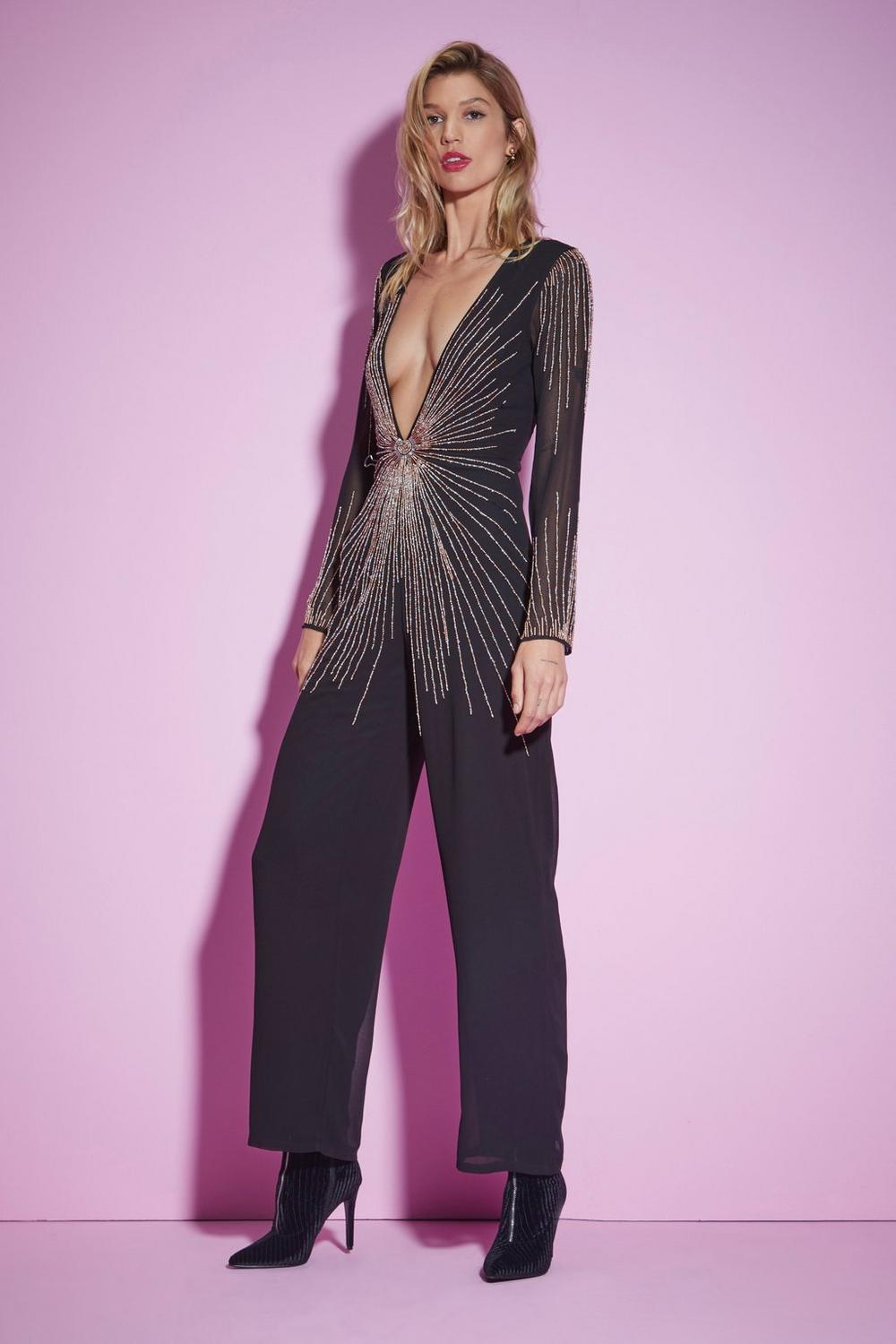 4df64413e78 Nasty Gal Studio Best Dressed Beaded Jumpsuit