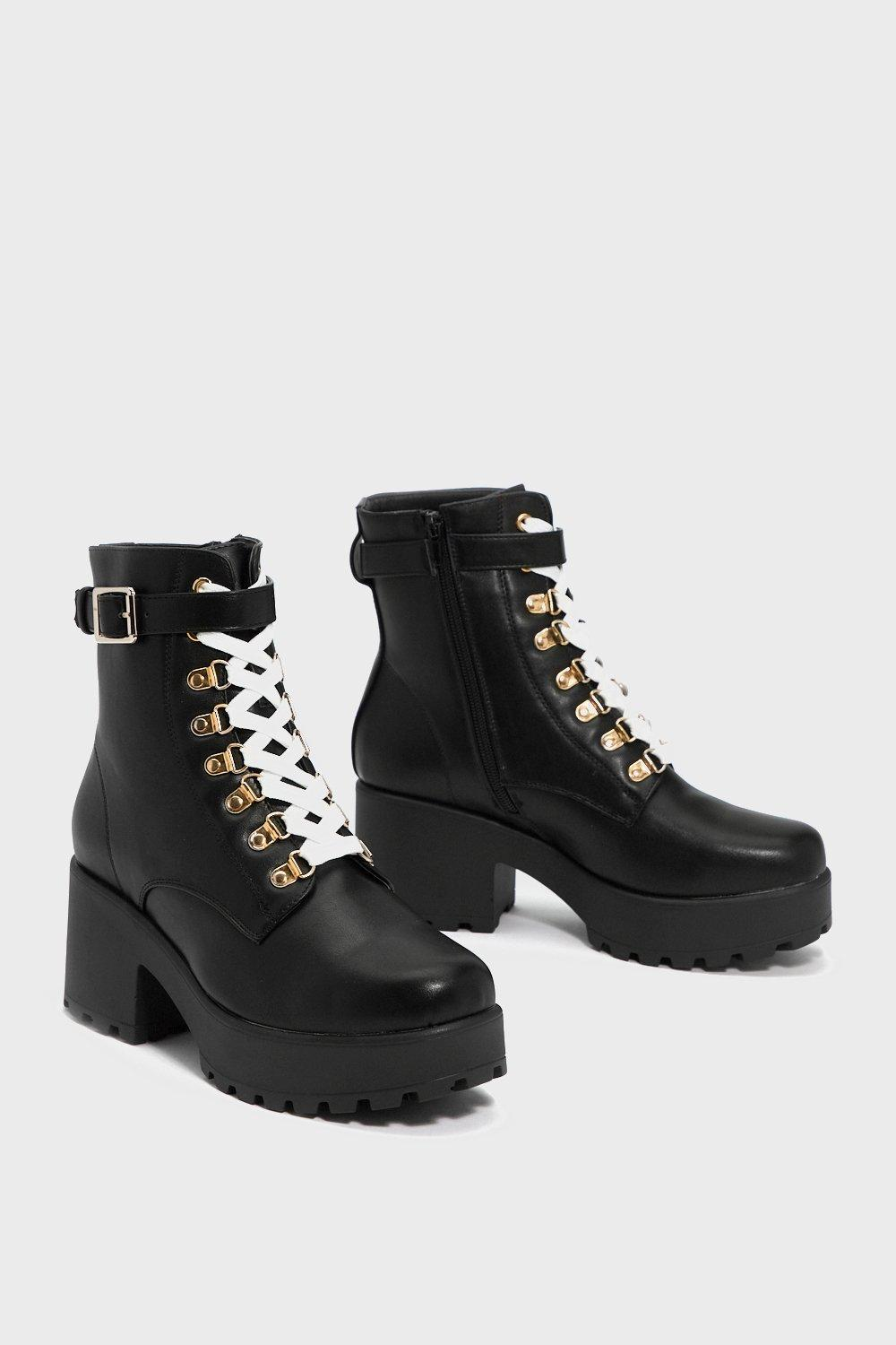 3bbca15979fe Womens Black Give  Em the Boot Chunky Boot