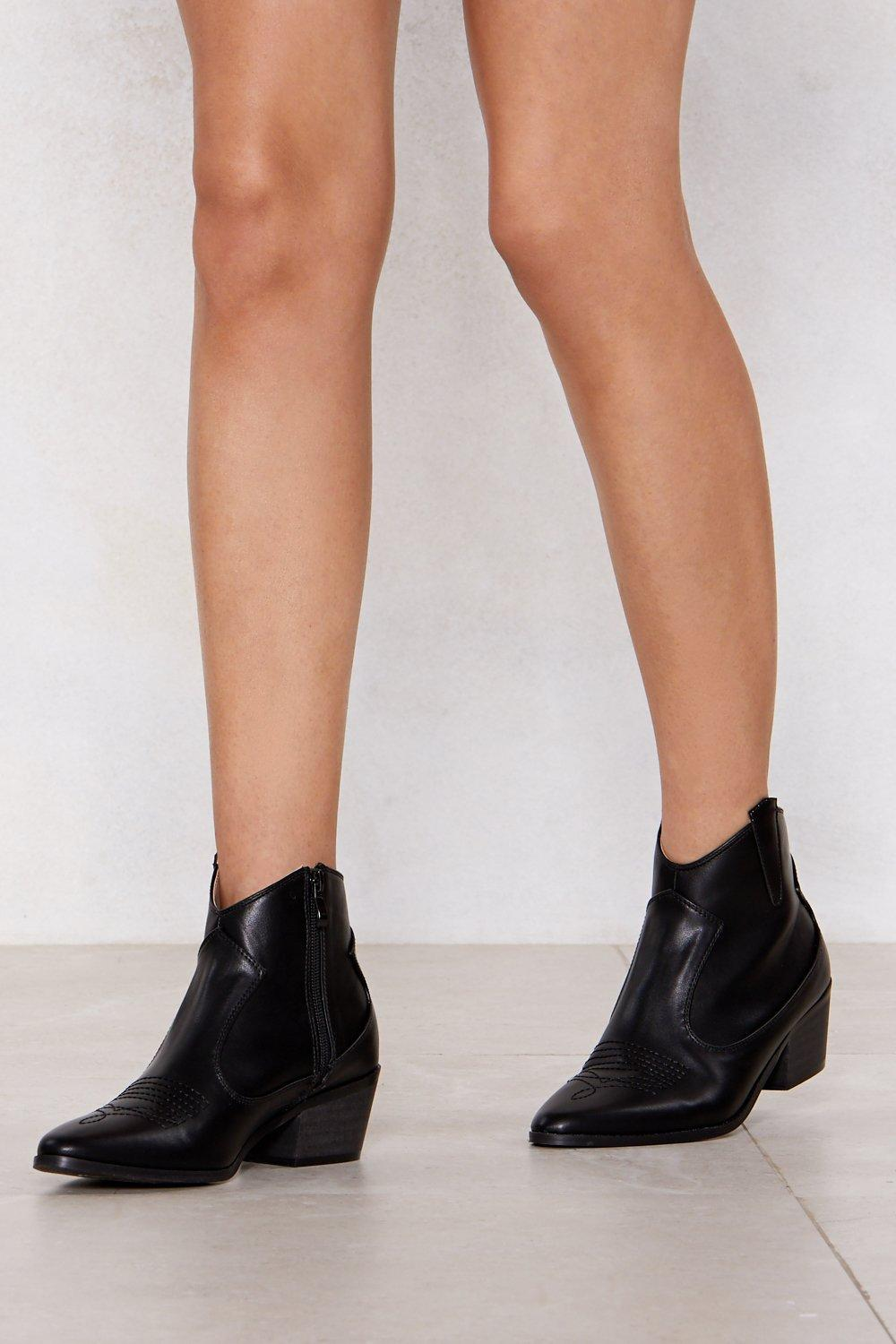62754993a28 Faux Leather Western Ankle Boots | Shop Clothes at Nasty Gal!