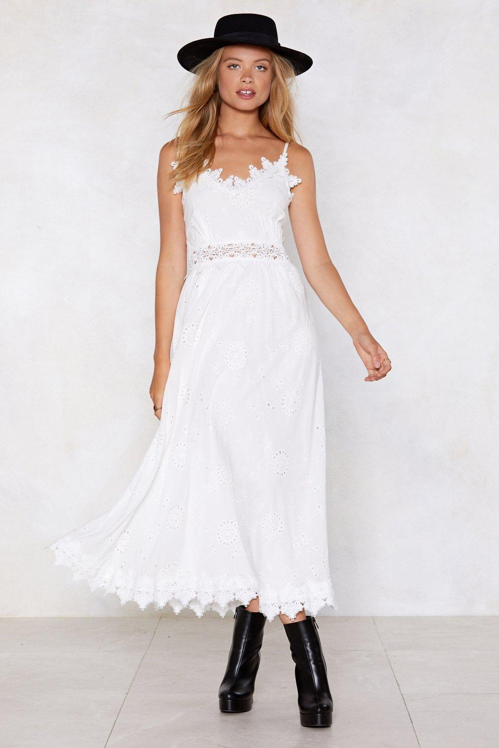 dc8b5cf0dd Womens White Get Your Thread in the Game Broderie Dress