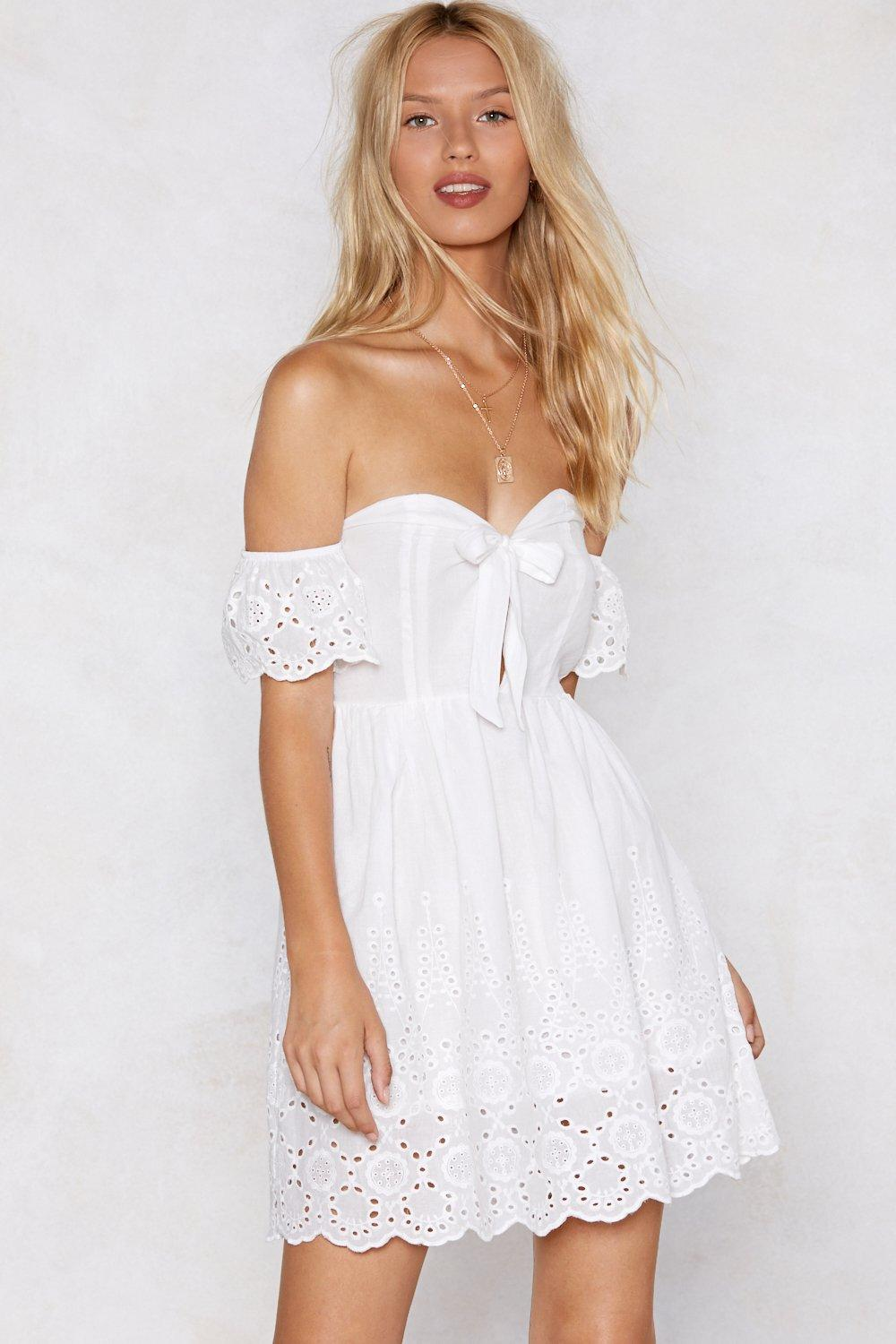 44d71ee2984 Womens White Let s Run Off-the-Shoulder Broderie Dress