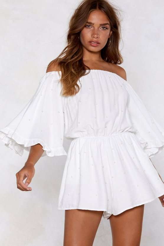 Pearl Gone Wild Off The Shoulder Romper by Nasty Gal