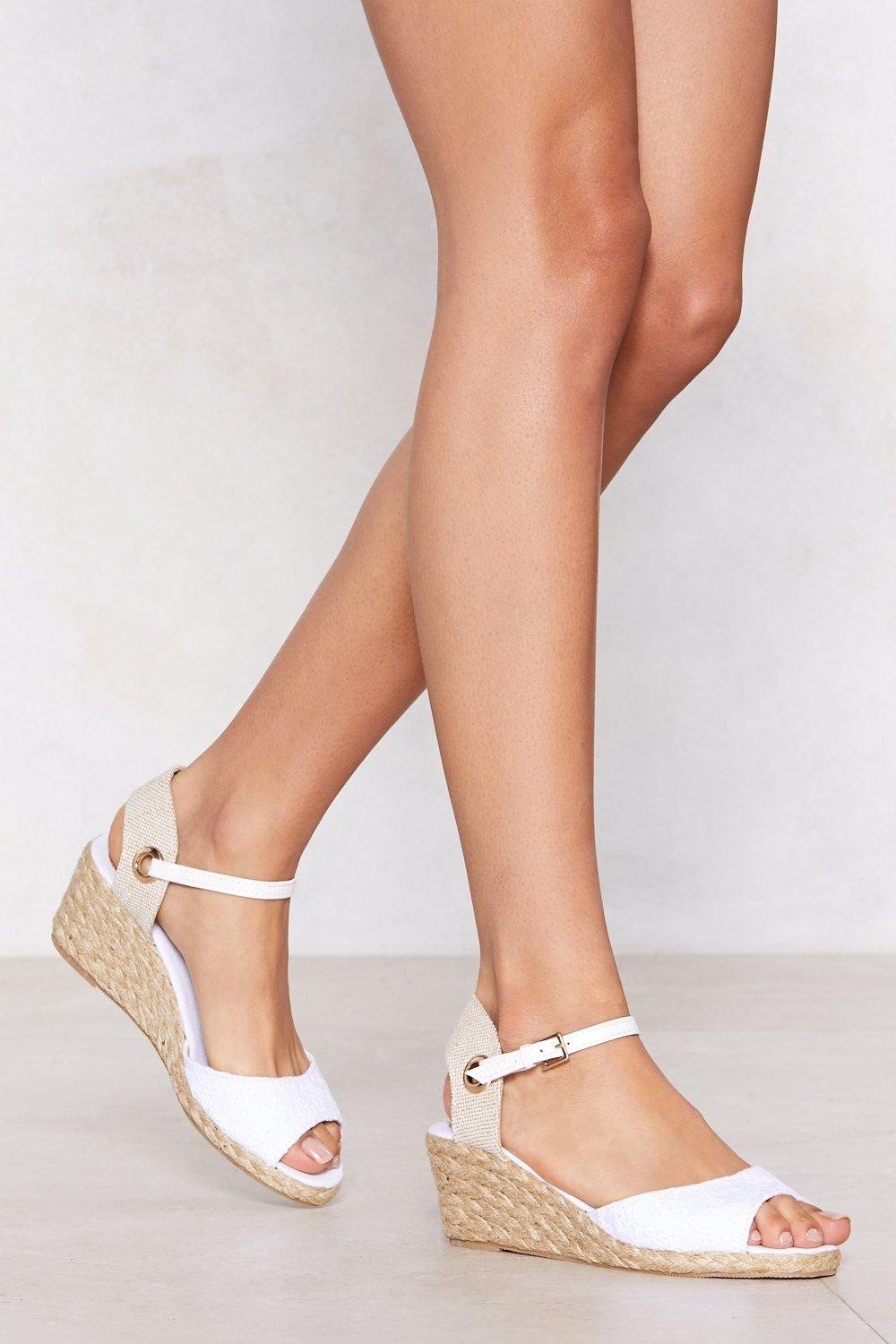 It's Up to You Broderie Anglaise Wedge Sandal best place sale online fashionable online cheap price for sale P2xwOLQss