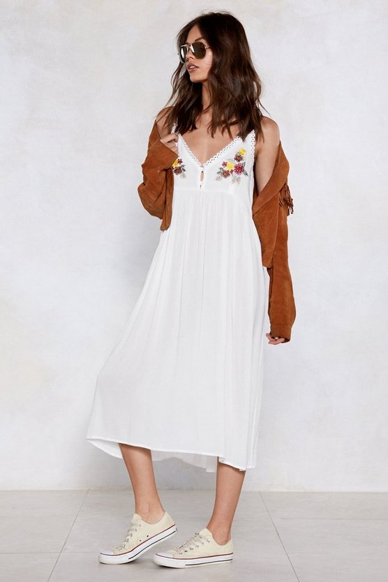 You Floaty My Boat Embroidered Dress by Nasty Gal