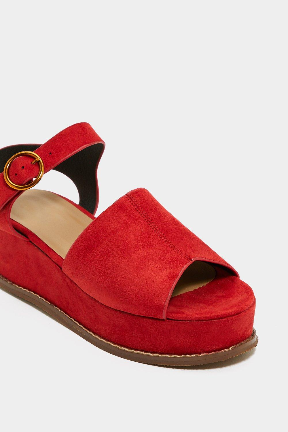 11d2c47f27c1 Womens Red Flat Out Platform Sandal.