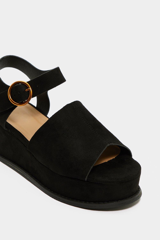 f007ee3df Womens Black Flat Out Platform Sandal.