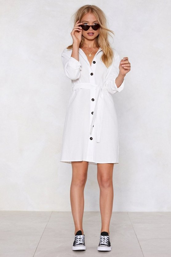 Shirt What Time Is It Button Dress by Nasty Gal