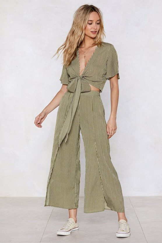 It Takes Two Striped Top And Wide Leg Pants Set by Nasty Gal