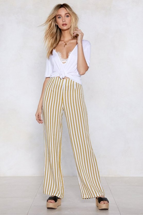 In Line Wide Leg Pants by Nasty Gal