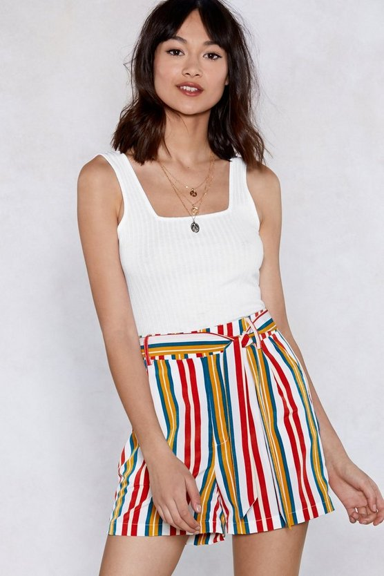 Good Lines Roll Striped Shorts by Nasty Gal