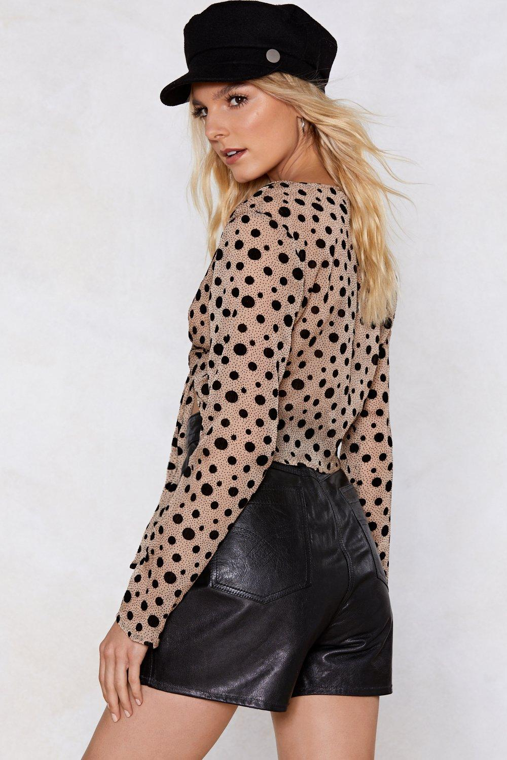 d3368db90931d Womens Nude Your Love Alone is Dot Enough Polka Dot Top