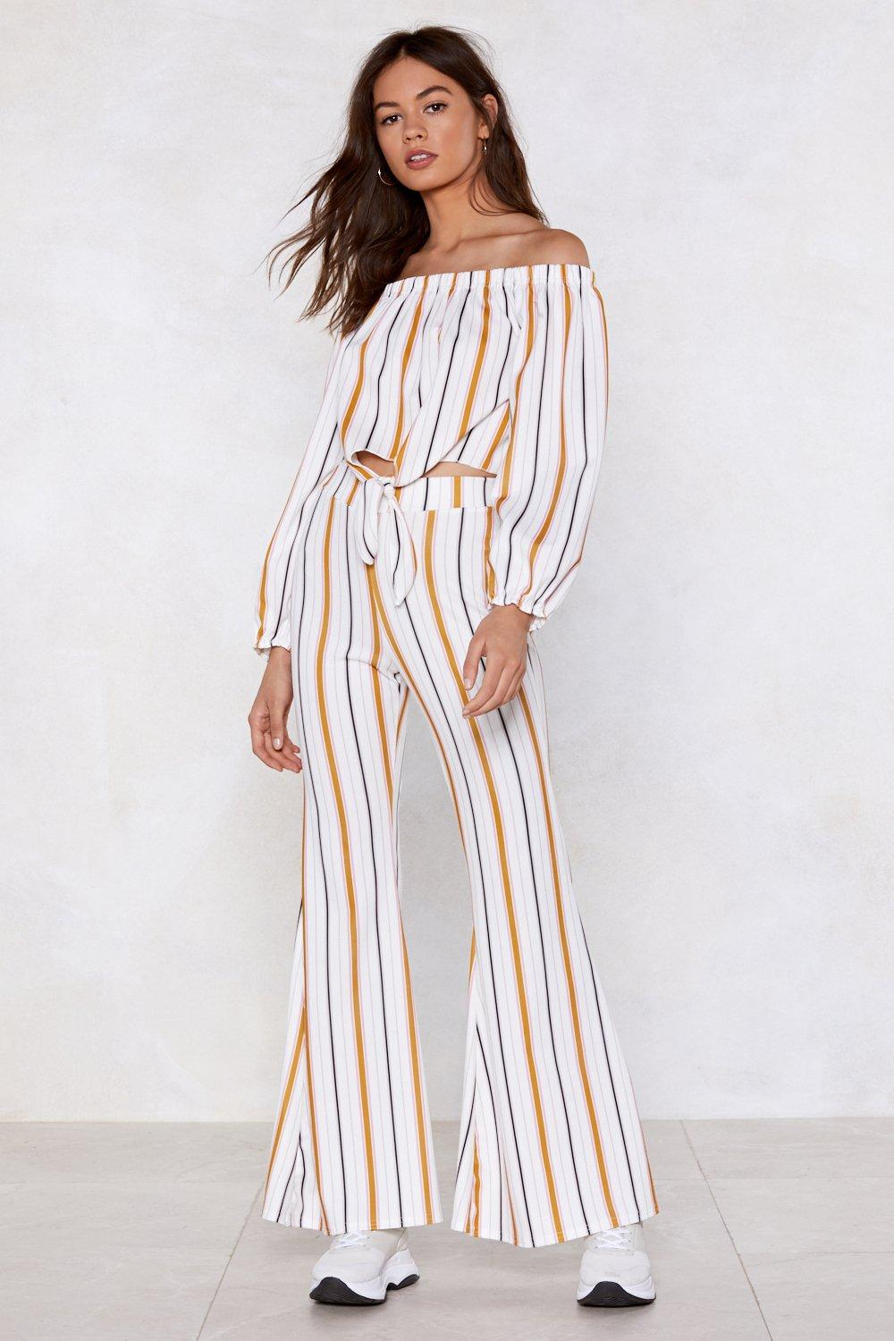ca181948468eaa Keep It Parallel Off-the-Shoulder Top and Pants Set