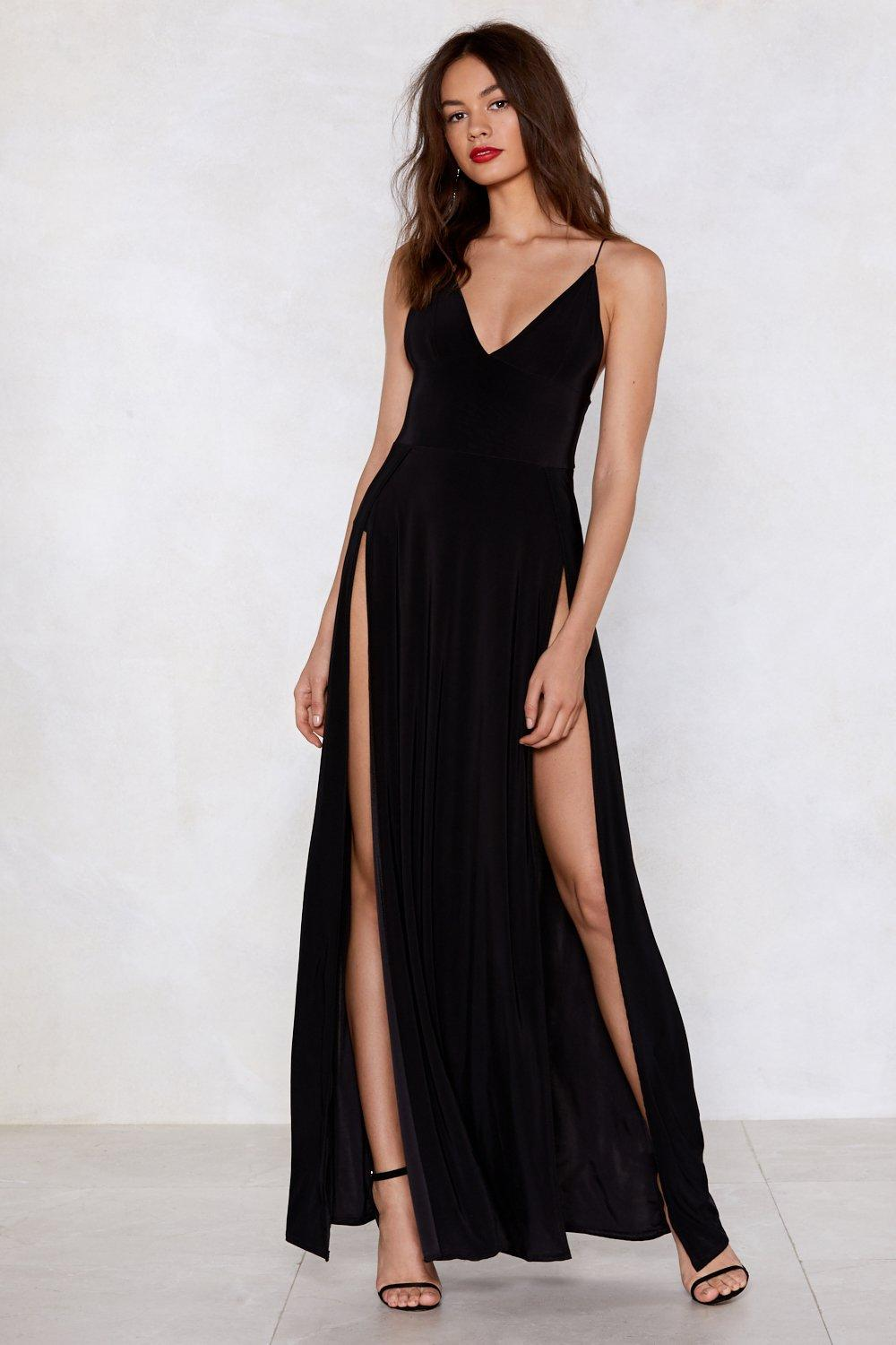 black dress with high slits slit dress fashion dresses 5751