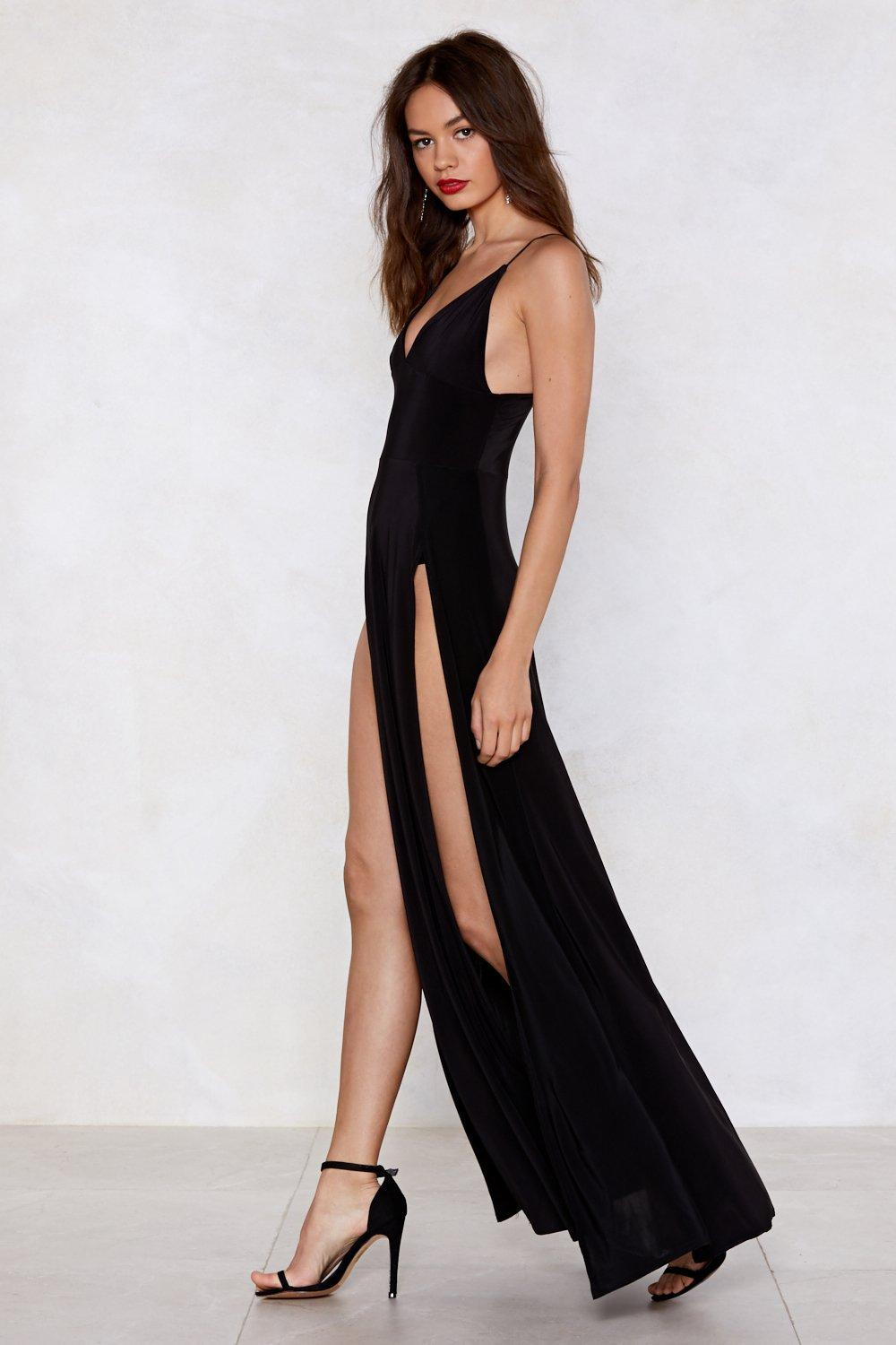 f3848f757d8 Womens Black Slit By Slit Maxi Dress. Hover to zoom
