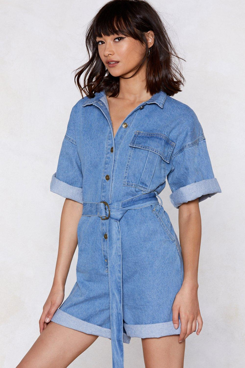 the complete package denim romper shop clothes at nasty gal