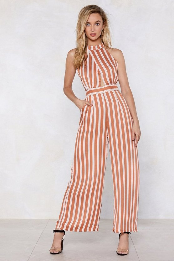 Your Guess Is As Good As Line Stripe Jumpsuit by Nasty Gal