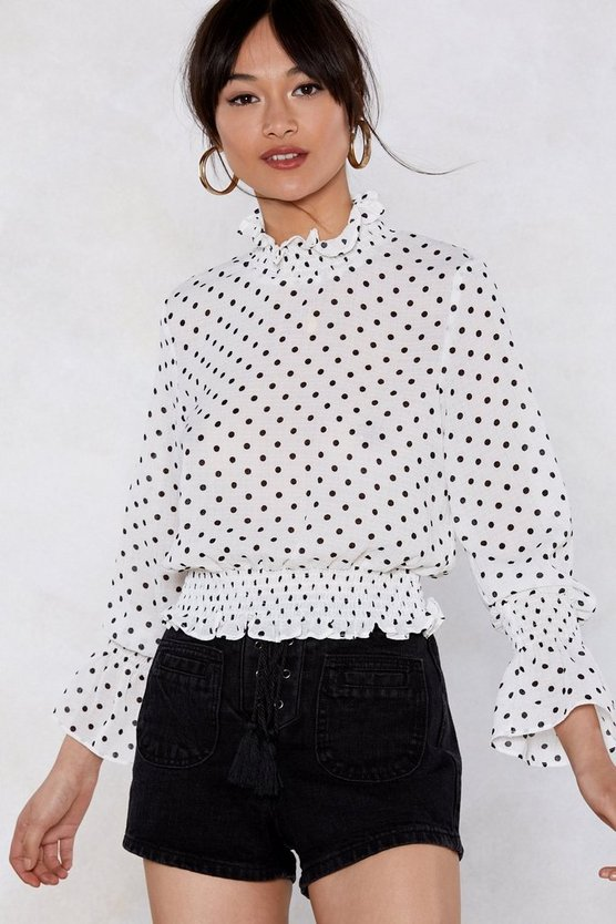 At Your Neck And Call Polka Dot Blouse by Nasty Gal
