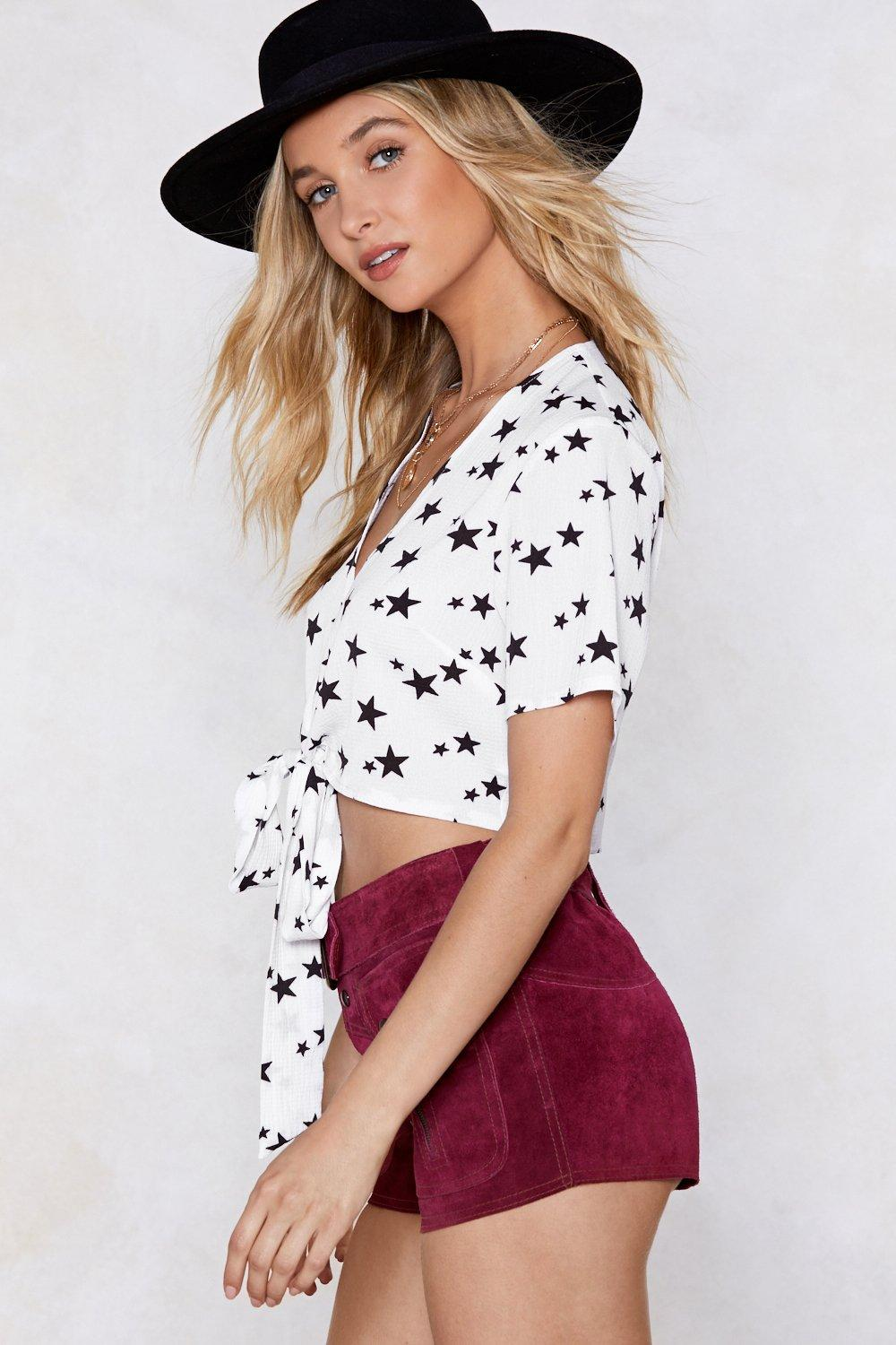 dbc10cf1b20fe0 Out of Space Star Crop Top
