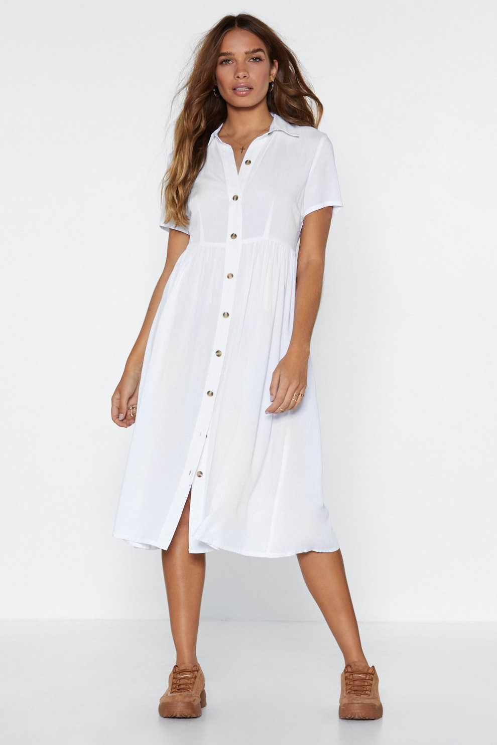 Button The Look Out Oversized Dress by Nasty Gal