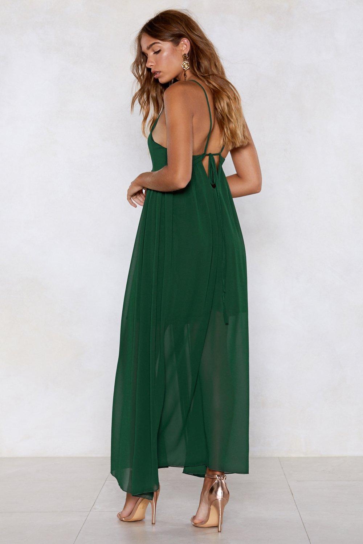 bd574eb70f6 Womens Green Strappy Maxi Dress