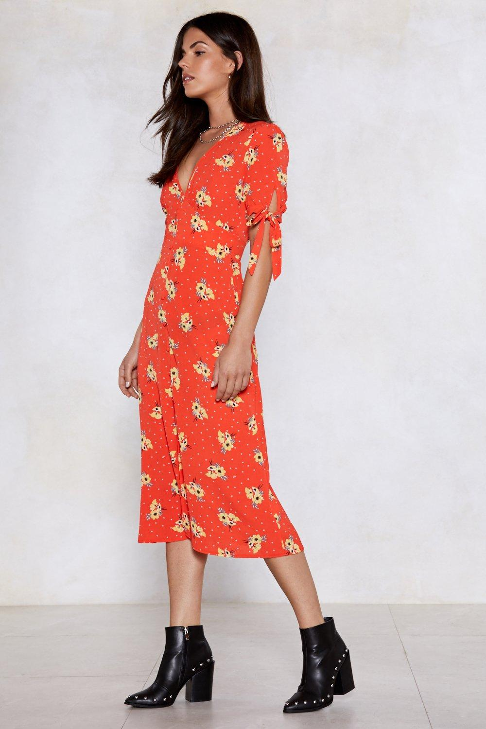 91c0383790a9 Floral Wrap Midi Dress. Hover to zoom