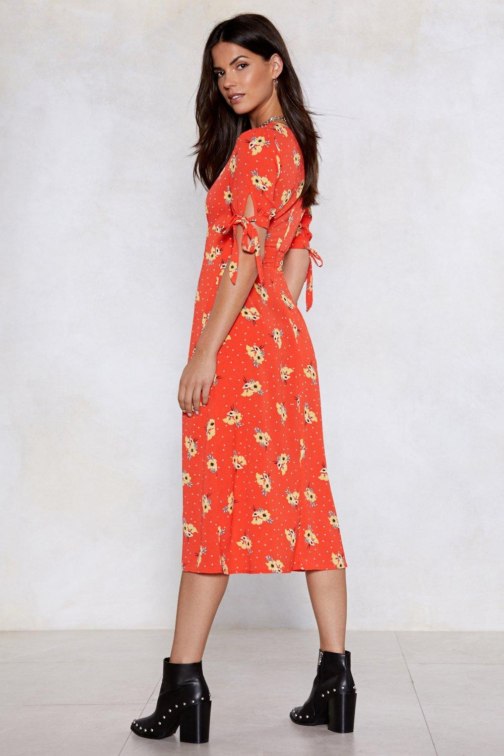 fc4c889de9e Womens Red Floral Wrap Midi Dress. Hover to zoom