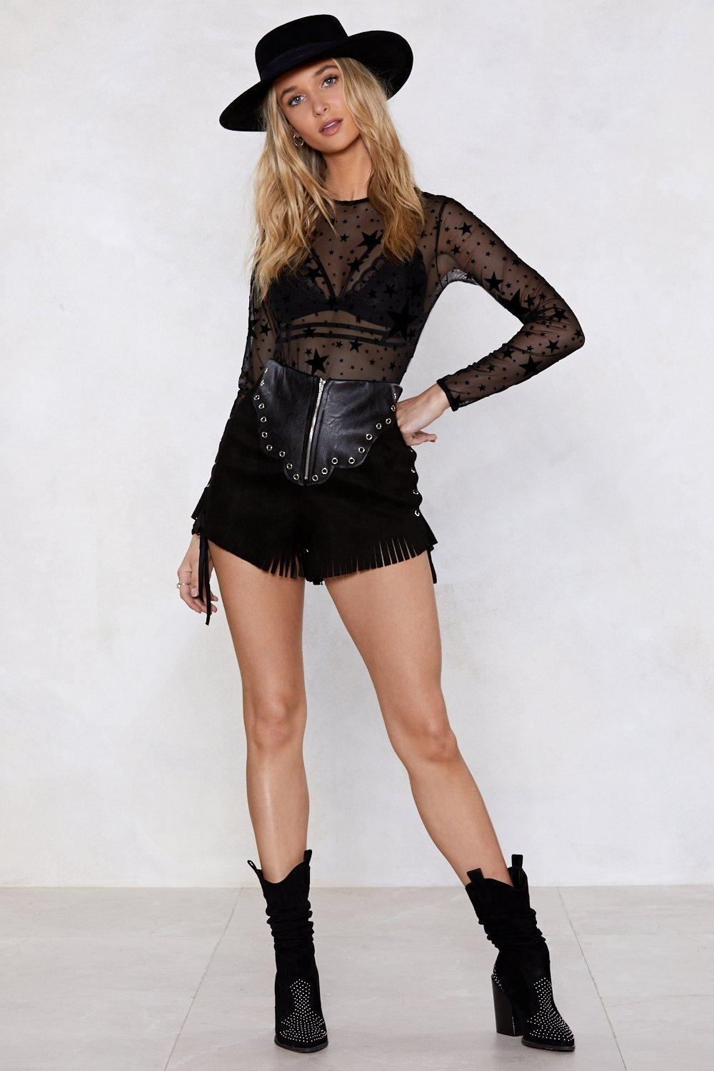 5766037ca12 Womens Black How Star Will You Go Sheer Bodysuit.