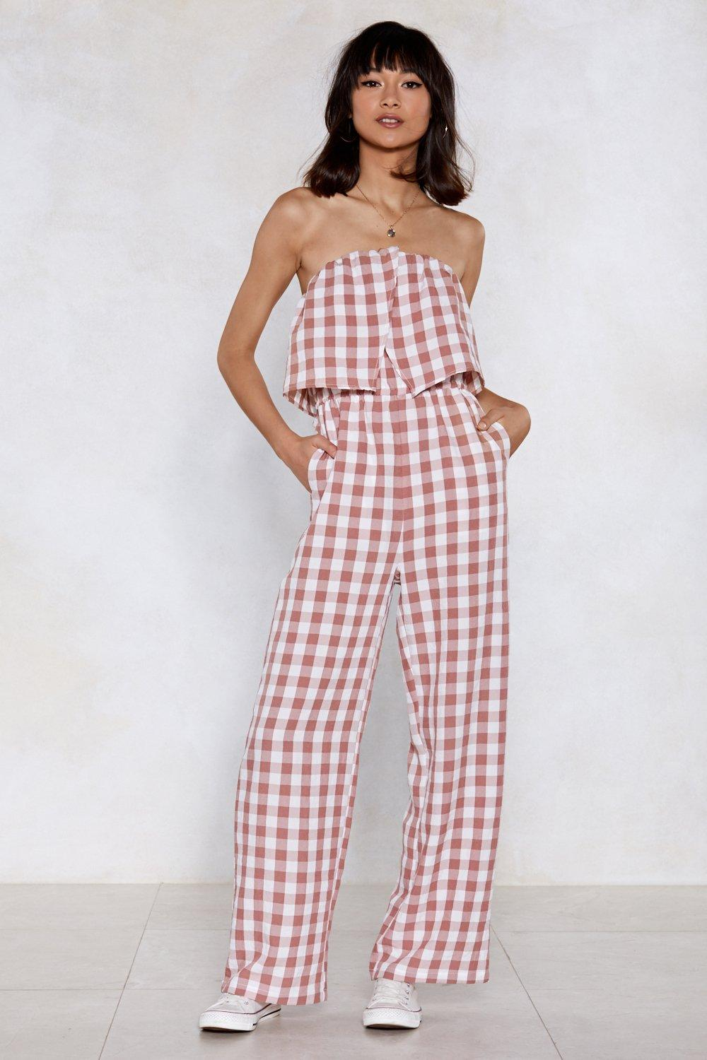 2a628ab713f Gingham Up Bandeau Jumpsuit. Hover to zoom