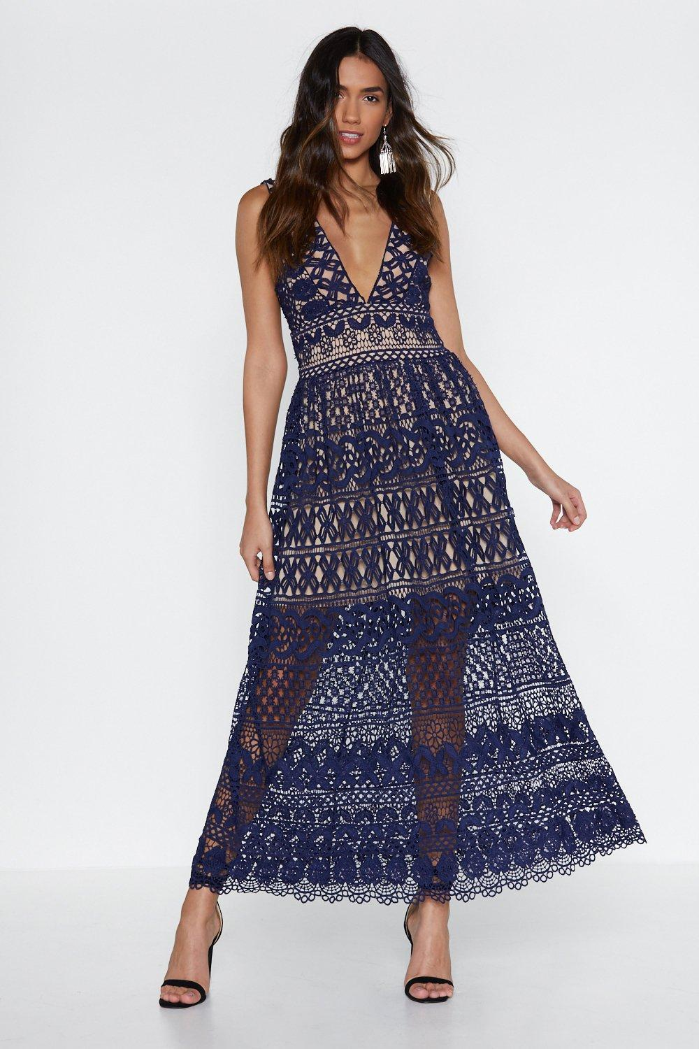 6f8e063822d Womens Navy In Lace of Emergency Midi Dress
