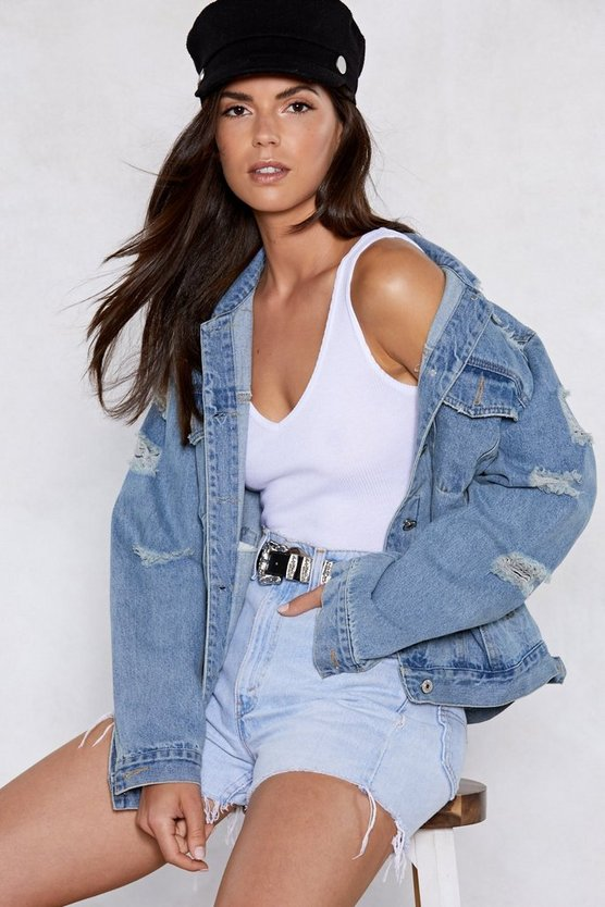 Rough 'n Tumble Distressed Denim Jacket by Nasty Gal
